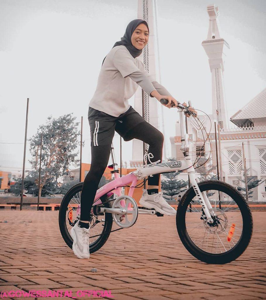 sepeda lipat warna pink